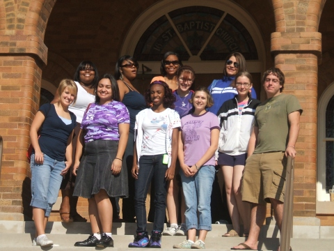 Our group on the steps of the 16th Street Baptist Church